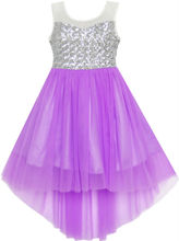 Girls Dress Sequin Mesh Party Wedding Princess Tulle Purple 7-14