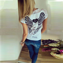 2016 New Fashion Women's T shirt Back Hollow Angel Wings Tshirt Tops Summer Style Woman Lace Short Sleeve Tops T shirts Clothing