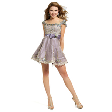 Lavender Cocktail Dresses Short 2017 New Arrival Cap Sleeves Applique Sequins Prom Party Dresses Plus Size Homcoming 2201430