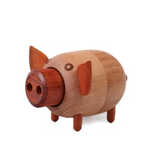 Wood Pig Model music box Home Decoration Craft Movement musical box Creative Christmas Children Gifts Mechanism caja musical(China)