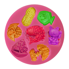 DIY Chinese Luck Goods Silicone Fondant Soap 3D Cake Mold Cupcake Jelly Candy Chocolate Decoration Baking Tool Moulds FQ3336