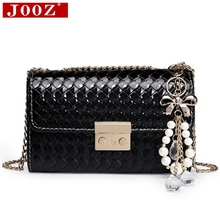 JOOZ New Arrival chains crossbody bag Bow pendant Girls shoulder bag Patent Leather woman's bag Small Plaid women messenger bags