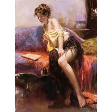 Figure Oil paintings of girl pino daeni arts After Midnight modern artwork on canvas Hand painted sitting room wall decor(China)