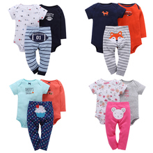 FREE SHIPPING Baby Boy Clothing Set 3pcs (Long Sleeve Bodysuit+Short Sleeve Bodysuit+Long Pants)(China)
