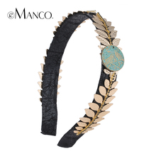 eManco golden leaf alloy acetate hairbands for women leather ribbon rhinestone hair bands jewelry trendy creative headband