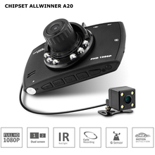 Cheap price Dual lens Car DVR Ambarella A20 chipset with two Cameras G-sensor Motion Detection Cycle Recording Dash Cam blackbox
