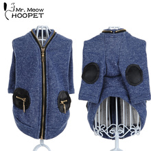 Pet Clothes Chihuahua Leisure Clothing Dog Pocket Coat  teddy Bear Small Dogs Cat  Warm Zipper Knitted Cardigan