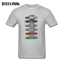 T-Shirts Stack of Volvo 240 Series 242 Brick Coupes Youth Round Neck Short Sleeve T Shirts Unique Teenage Tee Shirts Funny(China)