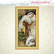 The girl and goose oil painting counted or Stamped 11CT 14CT Cross Stitch kit embroidery needlework Set hot sale