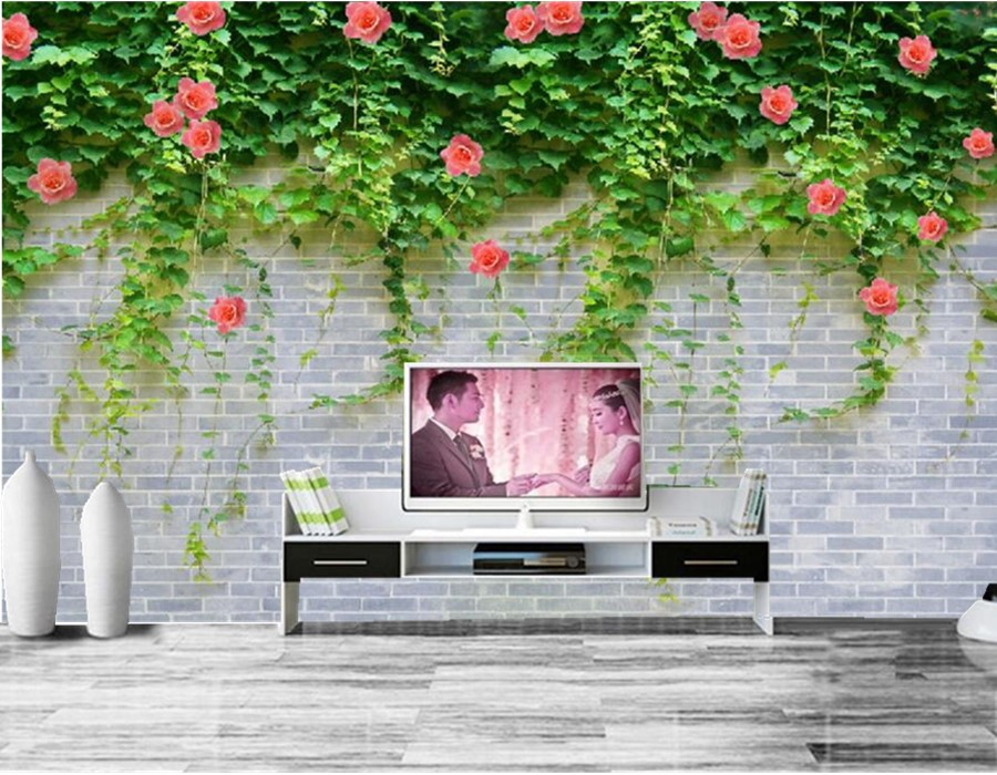Custom large murals papel de parede,Brick background green leaves and red flowers,living room sofa tv wall bedroom 3d wallpaper<br>