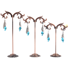 2014 Free Shipping Antique brass Earring Tree Shaped Display Stand Holder,Fashion Jewelry Display,sold per packet of 1 set(3PCs)
