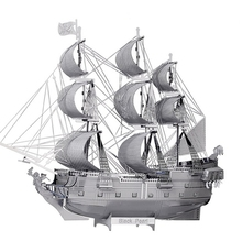 3D Metal Model Puzzle Jigsaws ship model DIY Gift Black Pearl Pirate Ship 3D Laser Cut Models Development Of Intelligence Toys(China)