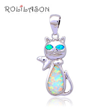 Cute Animal design Excellent Green Fire Opal Silver stamped Pendants Wholesale & Retail Fashion jewelry Brithday Gifts OP437(China)