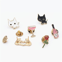 Wine bottle cup cat rose flower heart-shaped drip oil brooch collar pin SET
