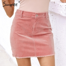 Simplee Vintage corduroy pink pencil skirt Fashion streetwear metal button zipper short skirt 2017 New autumn mini skirts womens(China)