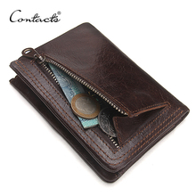 CONTACT'S Men Casual Genuine Cowhide Leather Wallet Vintage Design Small Coin Purse Male Short Slim Zipper Wallets Dropshipping(China)