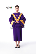 Vatican style Purple and Golden Baptism Choir Church Clergy Apparel Priest Vestments Pastor Robes Church Choir Pastor Costume(China)