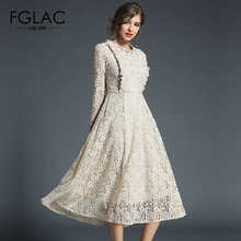 Buy FGLAC Women dresses New Arrivals 2018 Spring long sleeved lace dress Elegant Slim High waist Hollow women clothing vestidos for $25.07 in AliExpress store