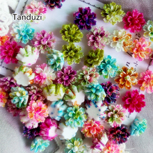 Tanduzi 100PCS Beautiful Mixed Color Layered Daisy Flower Resin Flowers Flatback Cabochon Scrapbooking DIY Decoration 12mm(China)