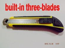 built-in three blades newest ABS.TPR rubber handle auto-locking Replaceable blade utility art knife NO.SR-808