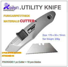 Free Shipping 1 PC Utility knife combine 10 pcs blade carpet/fur/wall paper cutter DIY Craft knife thick materials cutting tool(China)