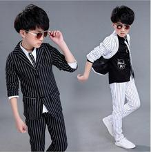 2017 Brand 2PCS Boys Solid Wedding Black and White Striped Suit England Style Gentle Boys Formal Suit Children Spring Clothing(China)
