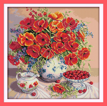 Joy sunday still life style Poppy and cherry counted cross stitch dog patterns kits online store for handcratf embroidery(China)