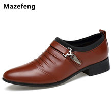 Mazefeng Spring Men Dress Shoes Pointed Toe Business Shoes Flats Breathable loafers Men Wedding shoes Men Formal Footwear(China)