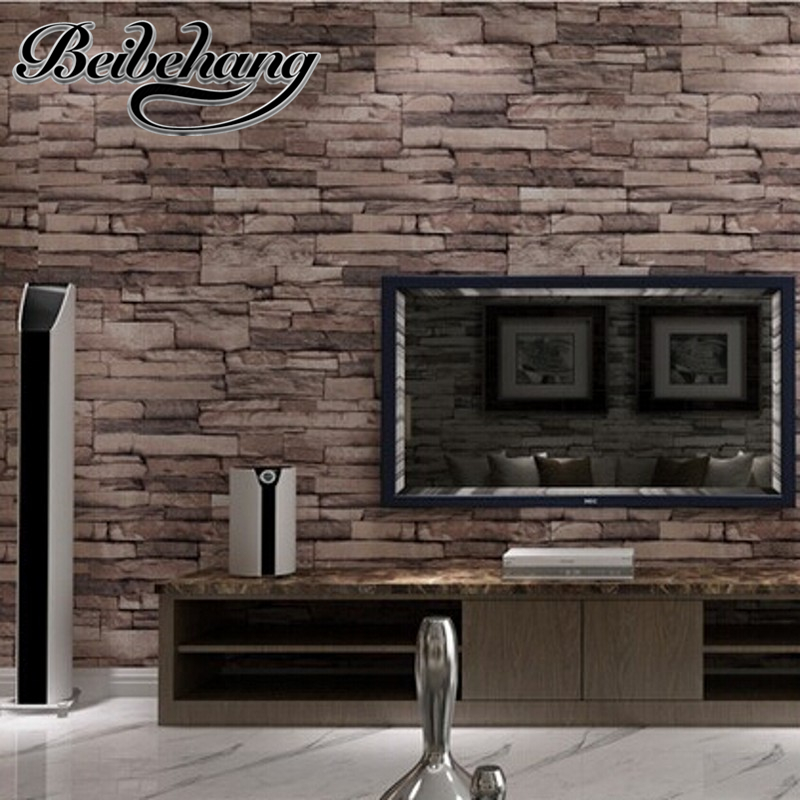 beibehang Modern PVC Wood Stone Brick Wallpaper Luxury Classic Vintage Living Room Wall Decor papel de parede wall paper <br>