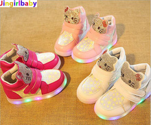 Buy Kids Casual LED Shoes Girls Glowing Sneakers Children Hello Kitty Shoes Led Light Baby Girl Lovely Boots for $9.34 in AliExpress store