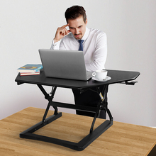 Loctek Height Adjustable Sit/Stand Laptop+Monitor Holder Folding Highten Lapdesk Gas Spring Lift Workbench Desktop Corner Table