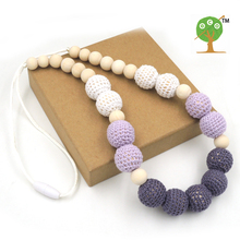 6PCS SALE safe Chunky Teething necklace  lilac Grey crochet beads wooden Crochet  Nursing teether baby toy EN30