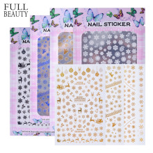 Full Beauty 4 Sheets Snowflakes 3D Nail Sticker Blue Gold Silver Black White Slide Adhesive Decals Nail Art Christmas Sets CH138(China)