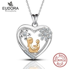 Eudora Real 100% 925 Sterling Silver Gold Color Mom Hold Baby in Crystal Heart Pendant Necklace for Women's Fashion Jewelry(China)