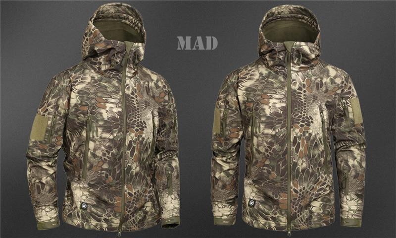 Mege Shark Skin Soft Shell Military Tactical Jacket Men Waterproof Army Fleece Clothing Multicam Camouflage Windbreakers 4XL 25