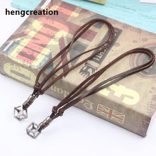 Retro Male Necklace Max 30'' Genuine Leather Rope Necklace Punk Vintage Collar Jewelry 17mm Dia Hollow Cube Box Pendant Necklace