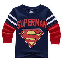 Retail Superhero Design Children Cartoon T-Shirt Boys Tops Kids t shirts Child Clothes Long Sleeve Clothing For 2-7Y C877