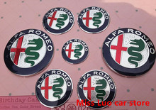 7pcs New ALFA ROMEO Car Badge stickers 74mm Front Hood Emblem+Rear Emblem+ 50mm Wheel stickers + 40mm steering wheel sticker(China)