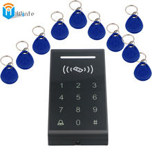 Access Control System 10PCS FOB keys +1 pc RFID Card Key tab Access Contr Door Lock Brand Proximity Access control kit Winte(China)