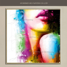 Skilled Painter Hand Painted Oil Painting Abstract Character Painting On Canvas For Room Wall Decor Color Sexy Women Lips Art