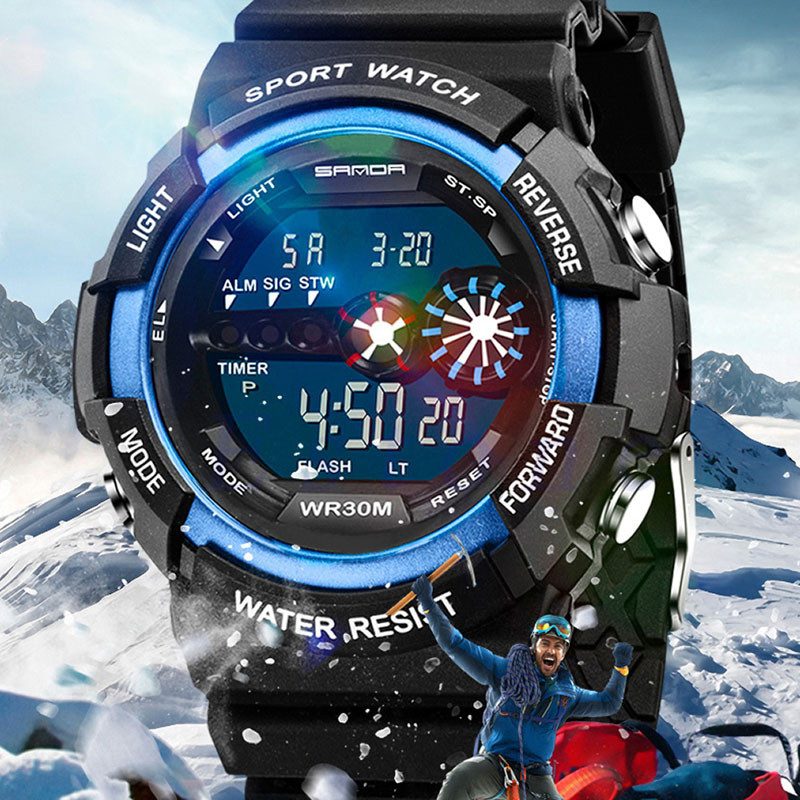 Men's Watch Date-Alarm Led Digital Stainless-Steel Army Outdoor Sports Waterproof Fashion title=