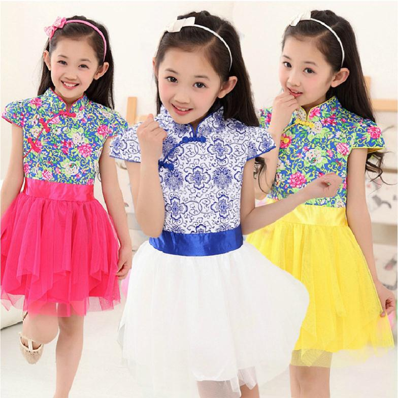 Retail Chinese Style Printing Summer Girls Dresses Fashion Classic Tutus Princess Dress For Party Costume Kids Clothes C15W20<br><br>Aliexpress
