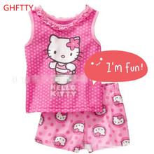 New cotton girl sleeveless pink cartoon home wear, children's wear, summer suits, air conditioning clothes, cartoon pajamas