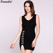 FANALA Tank Dress Cross Lace Up Back Spaghetti Strap Short Dress Side Split Women A Line Sleeveless Mini Dress Vestidos #50-30