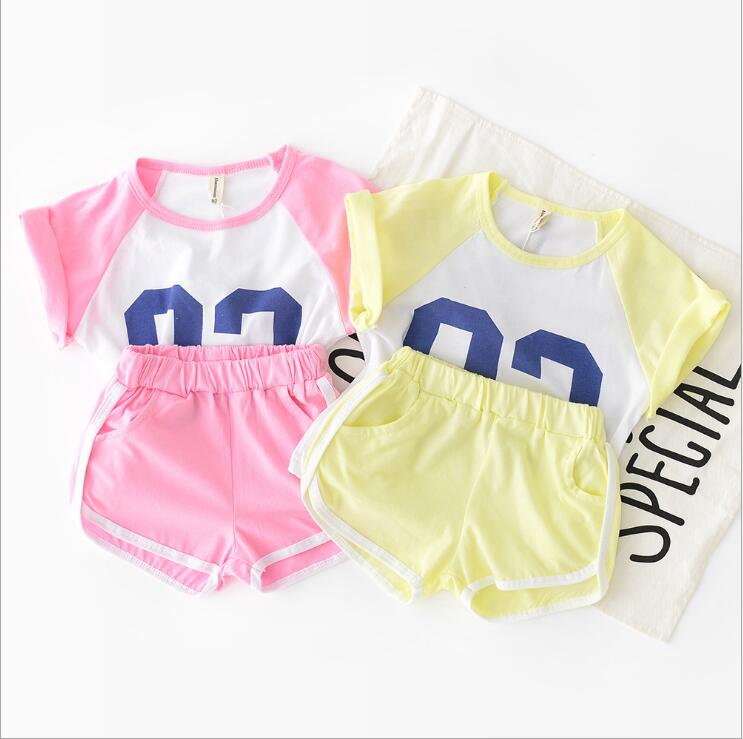 2019 new girls boys 2 pcs  set  t-shirt +shorts fashion cotton summer  kids suit 1-6t HQ623
