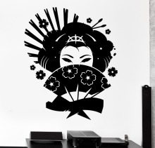 Japanese Style Wall Decals Geisha Japan Oriental Woman Fan Girl Living Room Interior Wall Decor Vinyl Stickers Art Mural LA795(China)