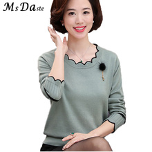 Women Cashmere Sweater Tops 2017 Autumn Winter Lady Pullover Solid Casual Knitted Sweater Pull Femme Blue Pink Red Purple M~4XL(China)