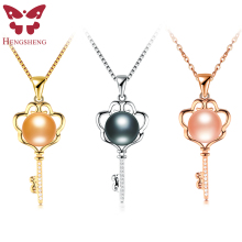 Real Nrtural Big Black Pearl Necklacs & Pendants For Women,Key Shape Silver/Gold/Rose-Gold Pendant Necklace,Fashion Jewelry Gift