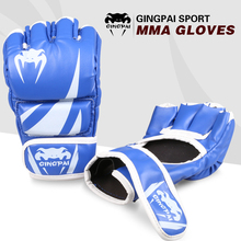 Hot sale 2016new Artificial leather adult male MMA gloves fighting gloves professional muay thai boxing gloves free shipping