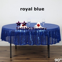 "Royal Blue Color 90"" Round Sequin Table Cloth \ Cheap Wedding Tablecloth Wholesale Price(China)"